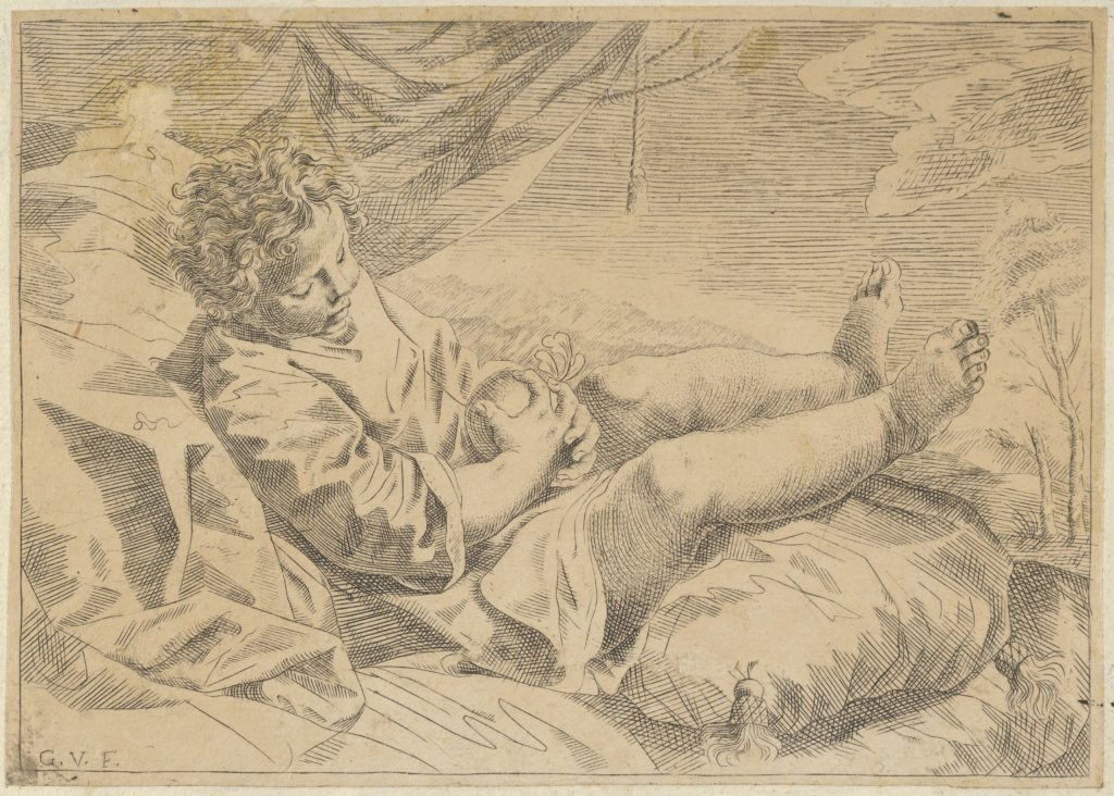A child sleeping on a cushion, holding a piece of fruit (?), a curtain behind him, after Reni (?)