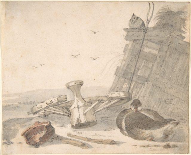 A Duck Sleeping near a Broken Wheel in a Farmyard, a Chicken beyond