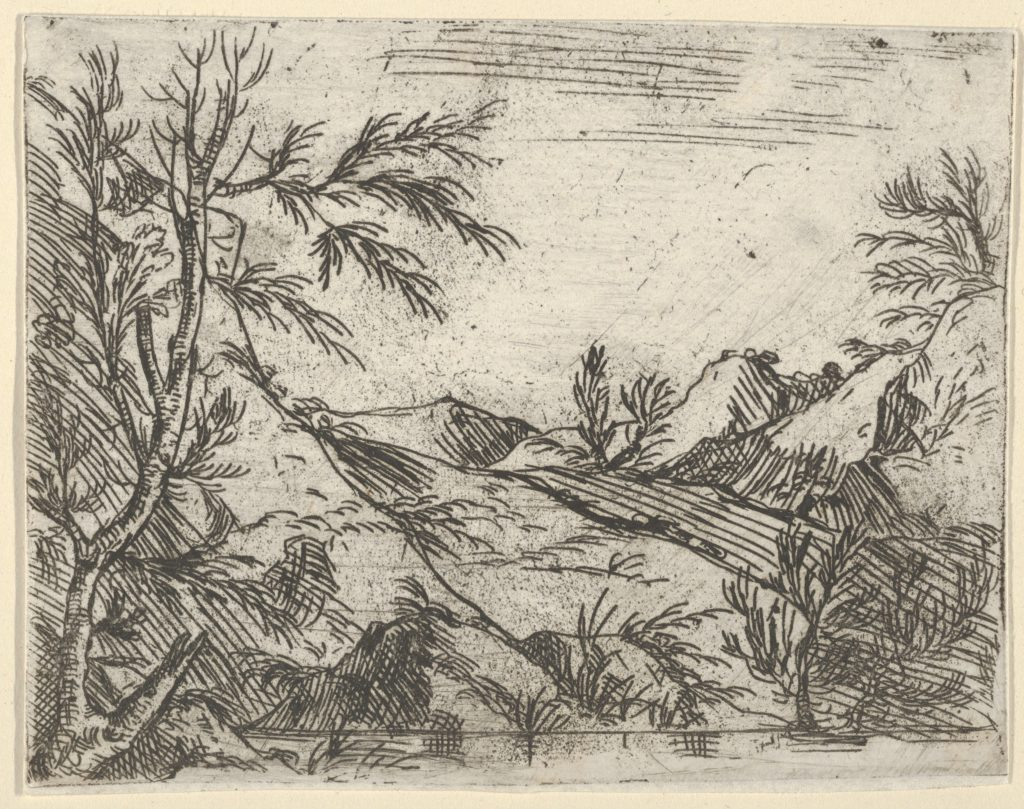 A landscape with water in the foreground and mountains in the distance