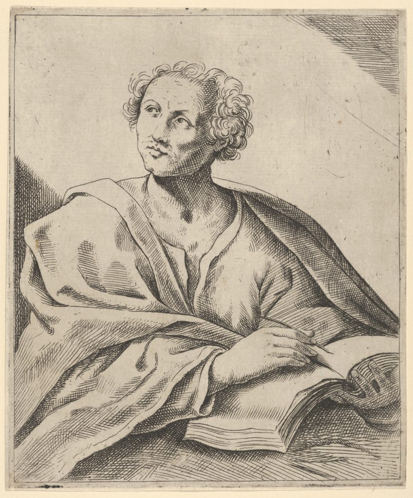 A man holding a book, about to write in it, looking upwards to the left, after Reni (?)