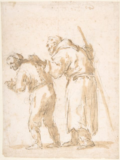 A Man Leading a Blind Friar (recto); Incidental Sketches (not by the artist; verso).