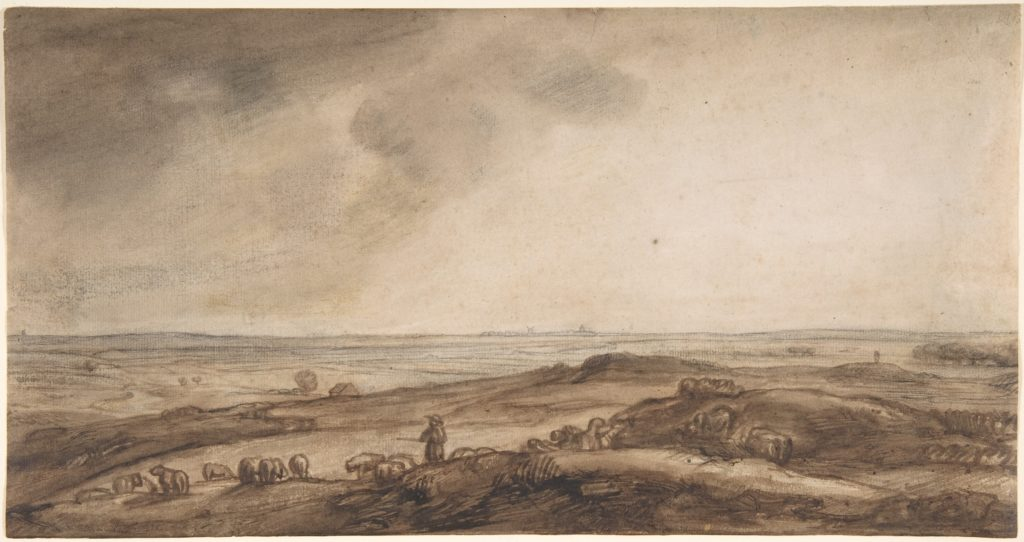 A Panoramic Landscape with a Herdsman and His Flock