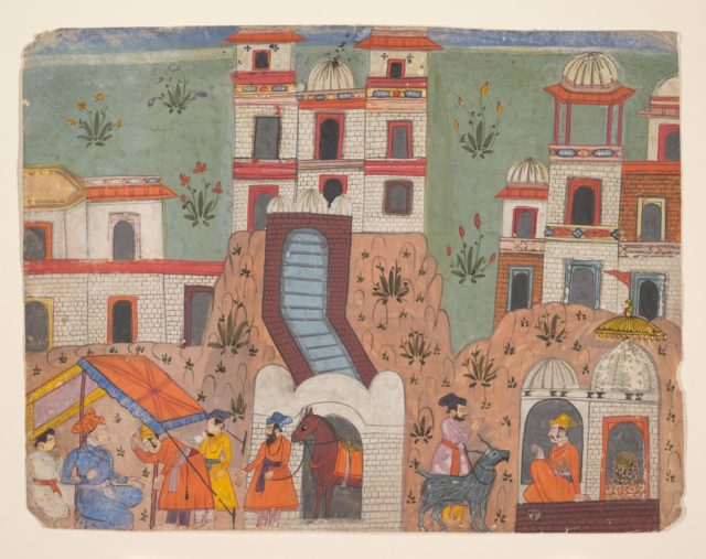 A Raja Receives Homage Outside the City:   Page from a Dispersed Manuscript