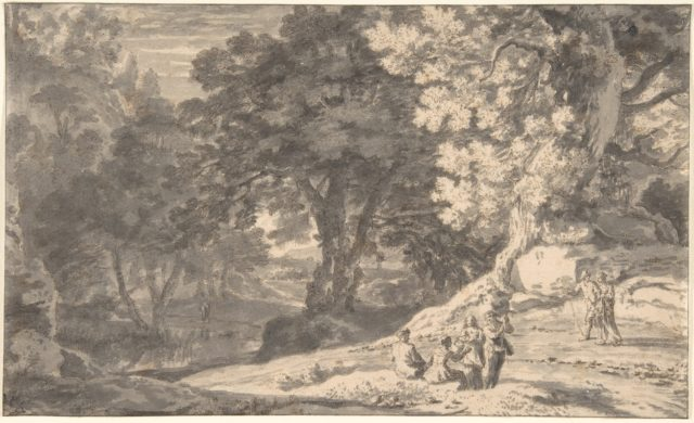 A Wooded Landscape with Travellers by the Roadside, a Stream beyond