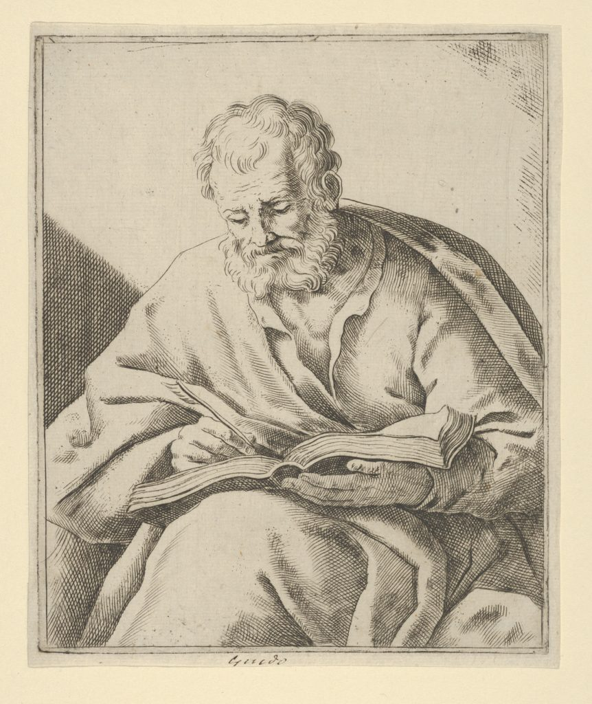 An old man seated and writing in a book (an evangelist?)
