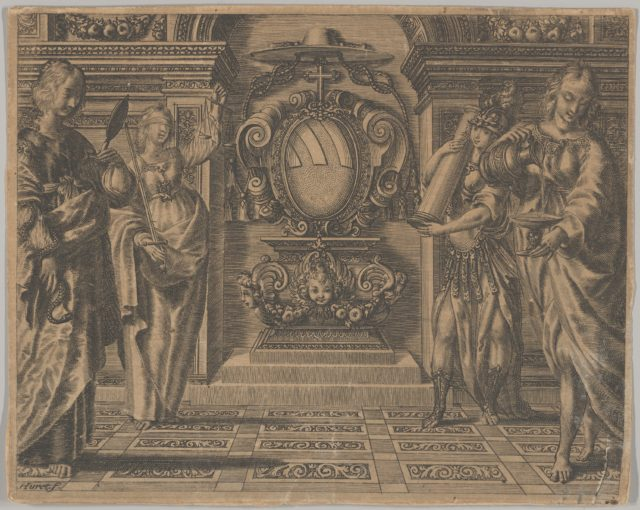 Arms of the Ludovisi Family Surrounded by Four Allegorical Figures