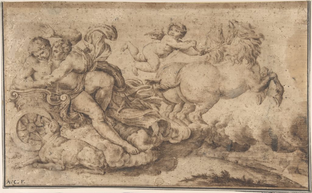 Aurora and Cephalus: Engraver's study after decoration in the Galleria Farnese, Rome.