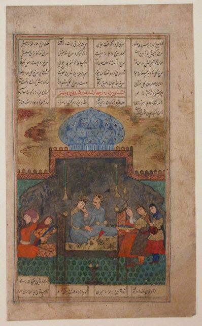 """Bahram Gur and Princess of Fifth Region on Wednesday"", Folio from a Haft Paikar (The Seven Portraits)"