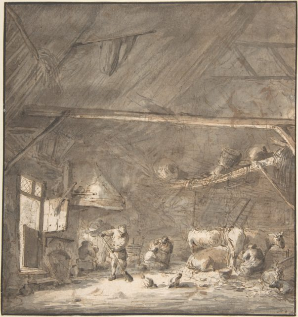 Barn Interior with Peasants and Cows Verso: Six Studies of Peasants