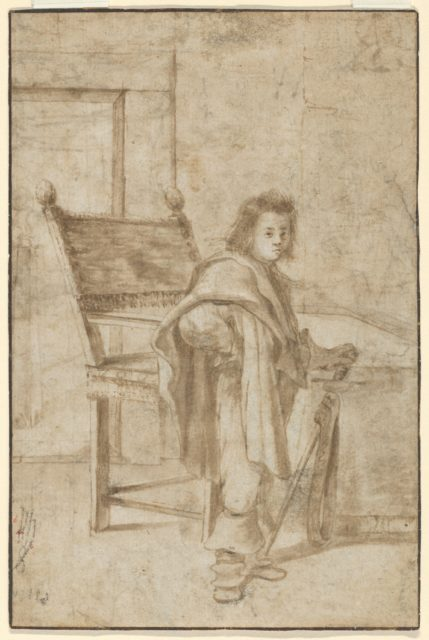 Boy Holding a Sword, Standing near a Table in an Interior; verso: Various Sketches of Figures and Ornamental Forms