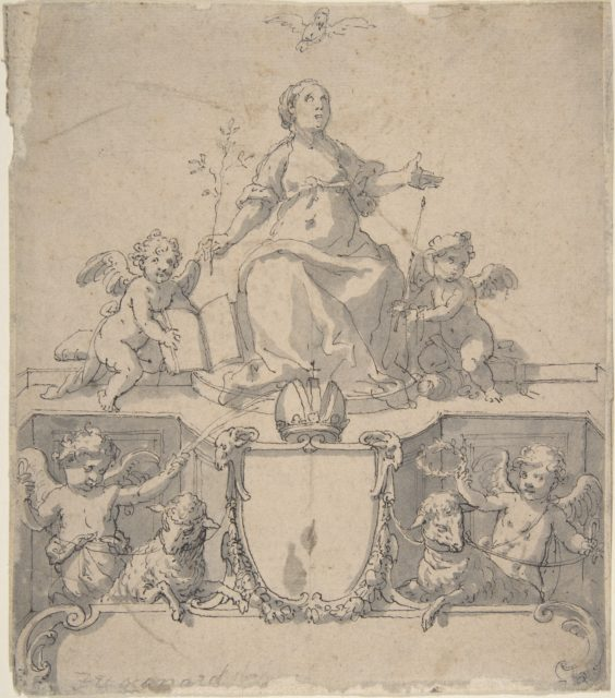 Cartouche with a Crown, the Virgin (?) and the Holy Ghost, and Four Putti