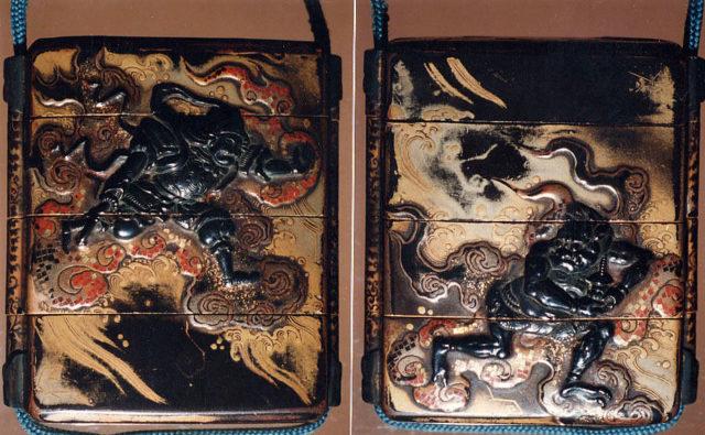 Case (Inrō) with Design of Bishamon (or Idaten) Pursuing an Onî (Demon) on Clouds