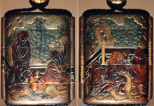 Case (Inrō) with Design of Chinese Persons on a Verandah against Stylized Wave Background