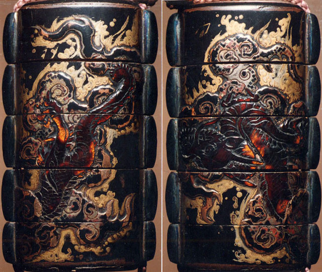 Case (Inrō) with Design of Dragon among Clouds and Waves
