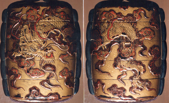 Case (Inrō) with Design of Dragon on Background of Clouds and Waves