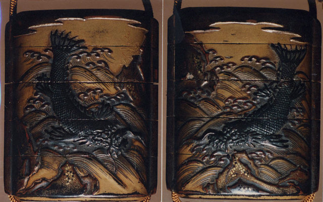 Case (Inrō) with Design of Dragonfish beside Rocks and Waves