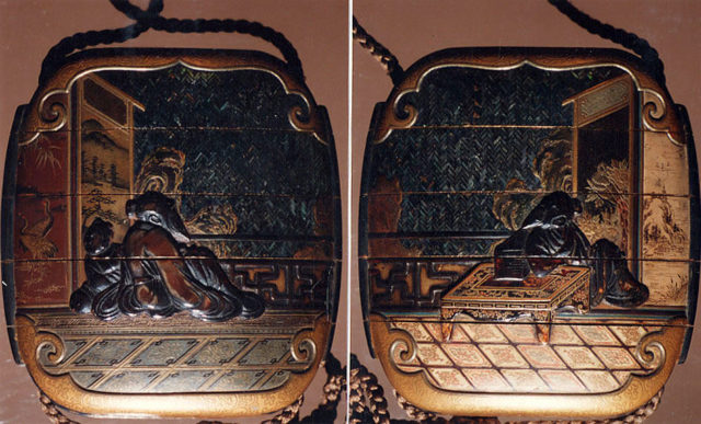 Case (Inrō) with Design of Sages Seated beside Table in Front of Screens