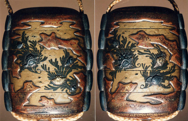 Case (Inrō) with Design of Shells on Background of Seaweeds, Rocks and Waves