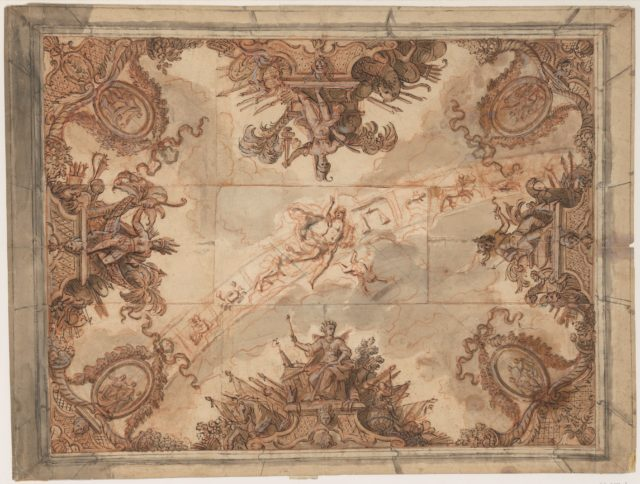 Ceiling Decoration with the Four Continents and the Signs of the Zodiac
