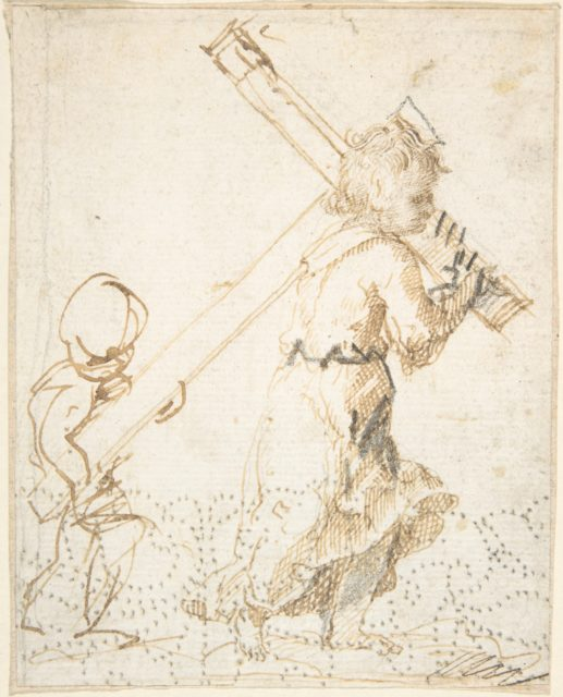 Christ Child and Secondary Child Figure Bearing the Cross (recto); Fragment of Design for Ornamental Border (verso)