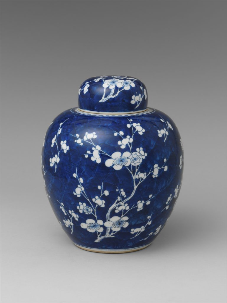 Covered Jar with Decoration of Blossoming Plum and Cracked Ice