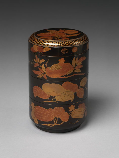 Cylindrical Stack of Food Boxes with Decoration of Autumn Fruits