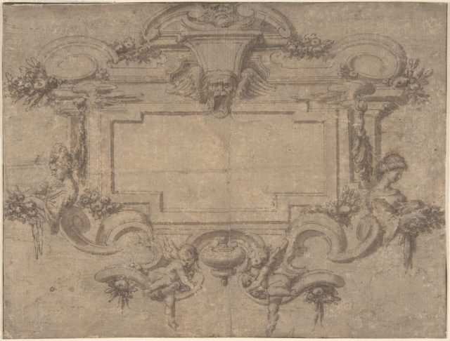 Design for a Cartouche or Wall Panel with Scrollwork, Masks and Female Figures