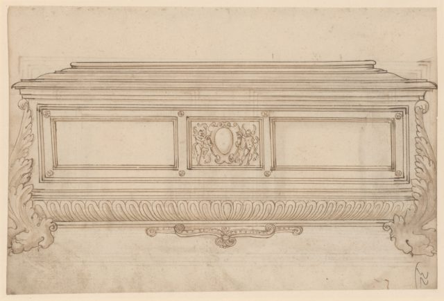 Design for a Cassone.  Verso, Design for a Cabinet Door or Cassone Lid