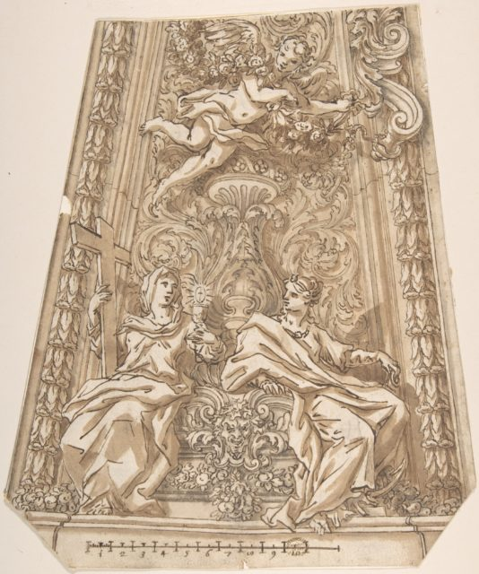 Design for a Dome Compartment with Figures of Faith and Hope
