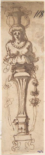 Design for A Female Term Carrying a Vase (recto); Sketch of Draped Male (verso)