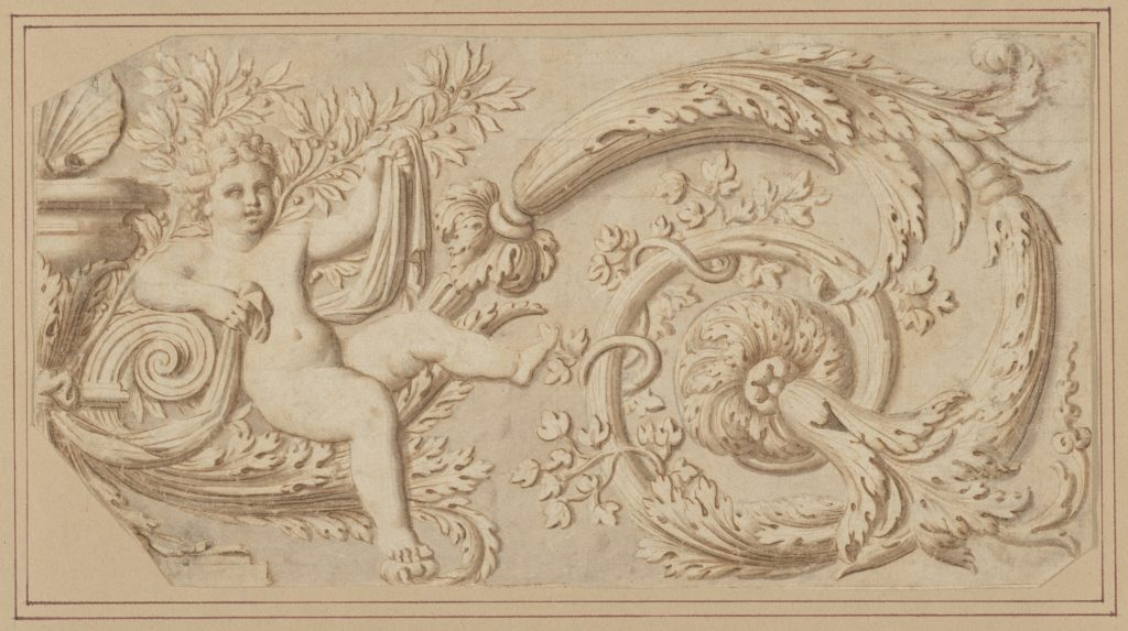 Design for a Frieze with Putto and Acanthus Scroll