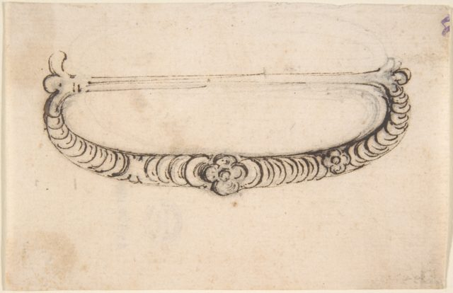 Design for a Metal Bag or Purse Handle with Stacked Coin Motif and Central Rosette