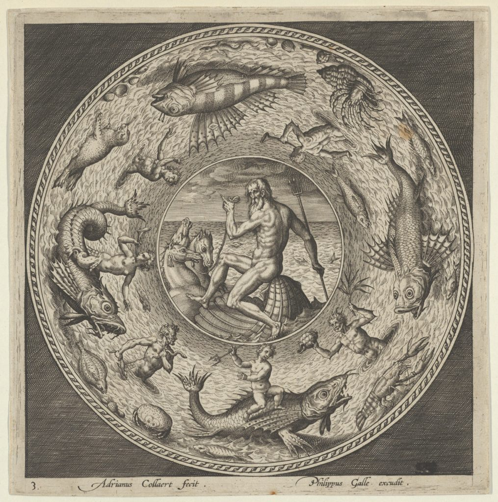Design for a Plate with Neptune in a Shell Drawn by Horses in a Medallion Bordered by Sea Monsters