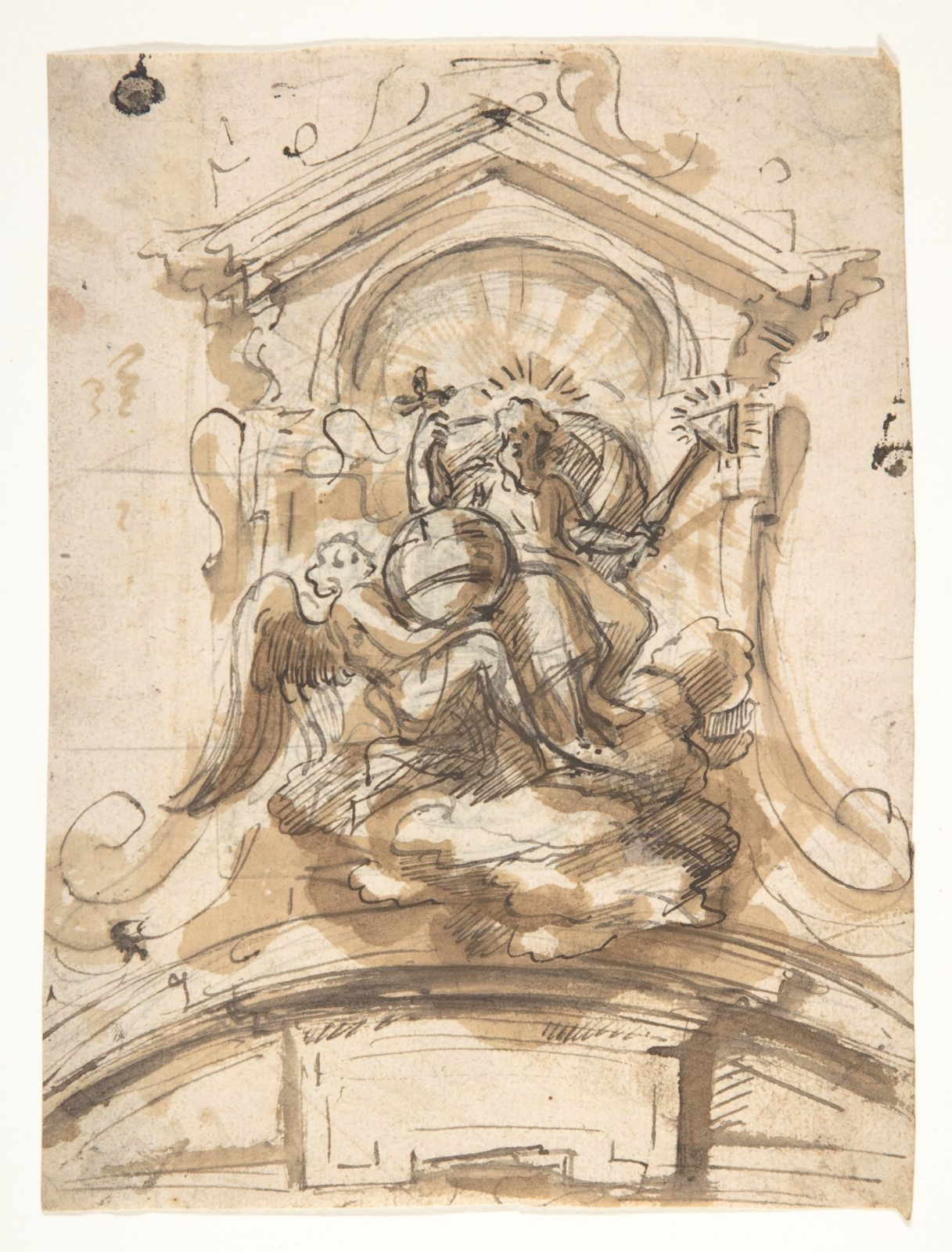 Design for a sculptural group with God the Father in a niche