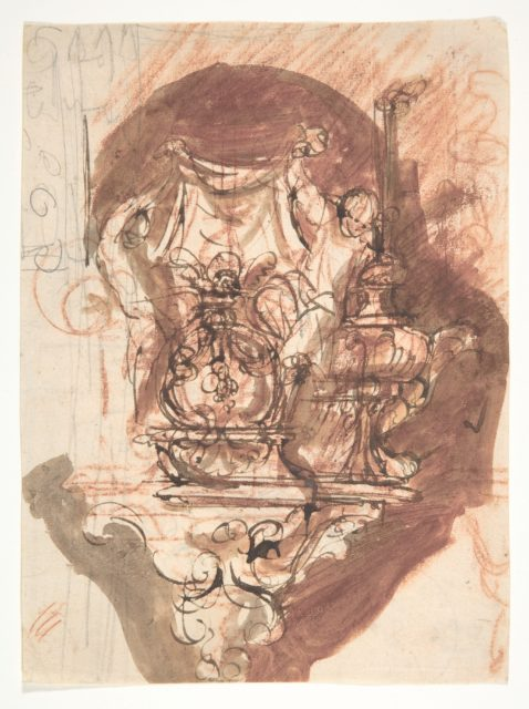 Design for a sepulchral monument; verso: Design for a sepulchral monument