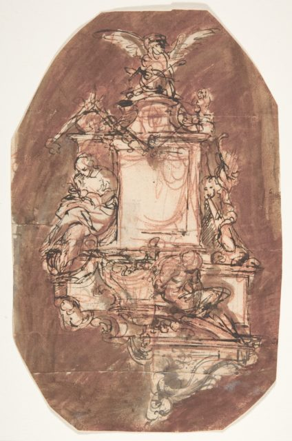 Design for a sepulchral monument; verso: Fragment of a letter and notes
