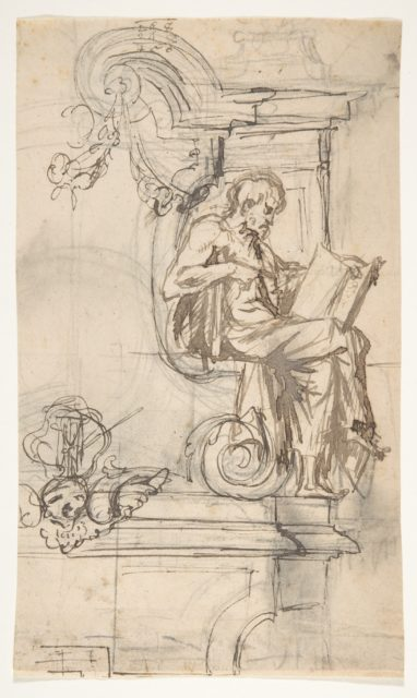Design for a sepulchral monument with a seated prophet or philosopher; verso: Sketches