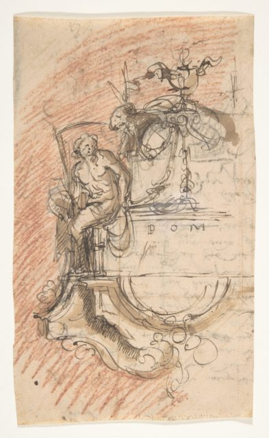 Design for a sepulchral monument with an allegory of Time; verso: Architectural sketch and fragment of a letter