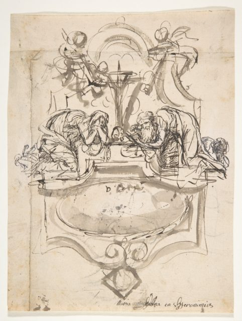 Design for a sepulchral monument with Mary Magdalen and Saint Jerome; verso: Sketch (counterproof) and writing exercises