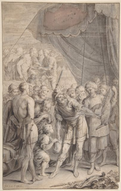 Design for a Title Page: A General and His Army Looking at a Map.