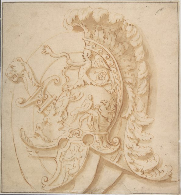 Design for a Trophy with Sword and a Plumed Helmet Decorated with Grotesques Masks, Classical Motifs.