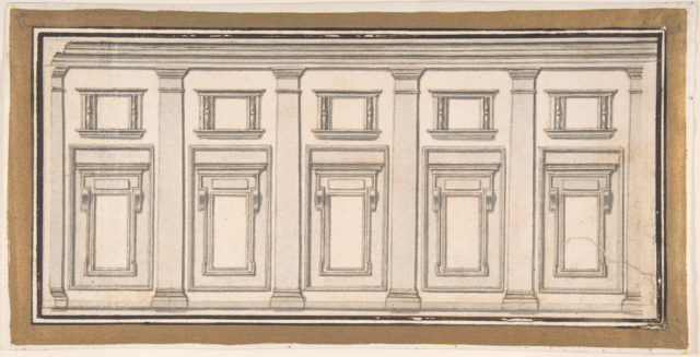 Design for a Wall Elevation with Five Bays in the Doric Order