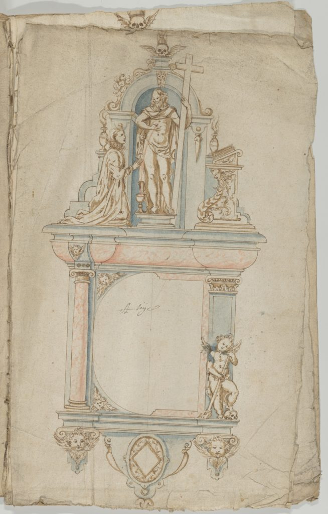 Design for a Wall Tomb with a Variant and Statues of the Resurrected Christ and a kneeling Donor