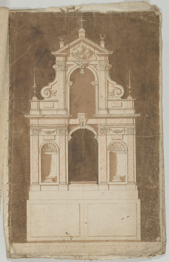 Design for an Altar with Red Marble to be set against a Wall