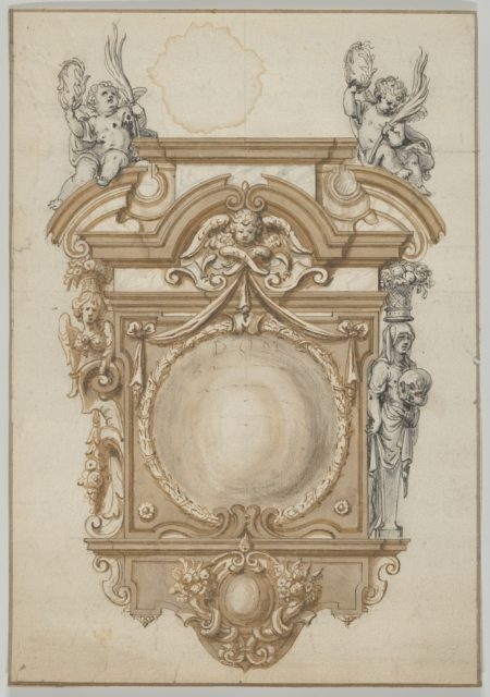 Design for an Epitaph with a Variant, flanked by Terms and surmounted by statues of Cherubs