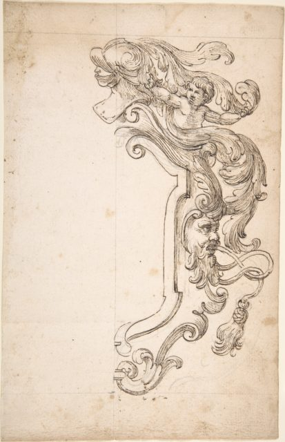 Design for Half of Frame with Helm, Putti, Mask