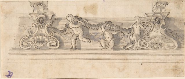 Design for the Decoration of a Cornice with Putti holding a Garland (recto); Red Chalk Sketches (verso)