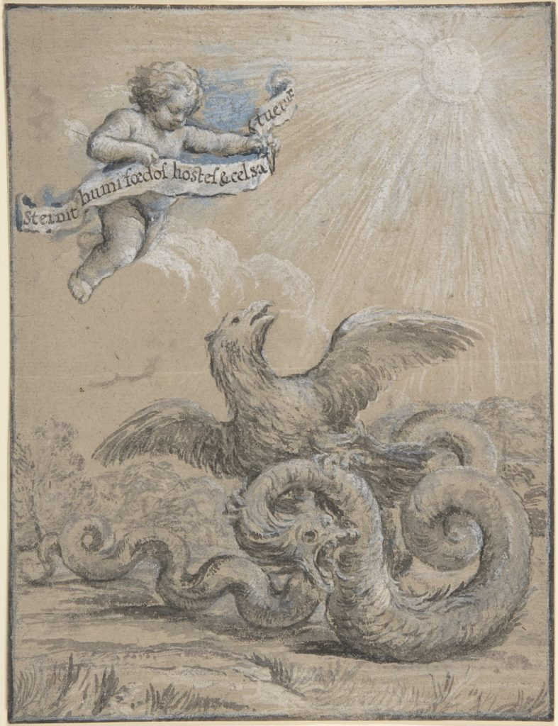 Design with an Eagle Fighting with a Serpent and a Putto in the Sky Holding an Inscribed Banner.