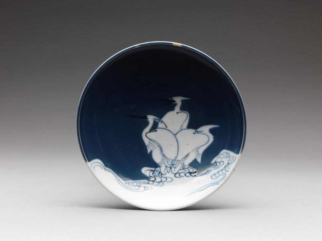 Dish with Heron Design