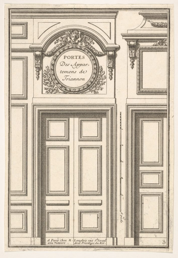 Doors of the Trianon Appartments plate III from the Series 'Portes a Placard et Lambris', published as part of 'L'Architecture à la Mode'